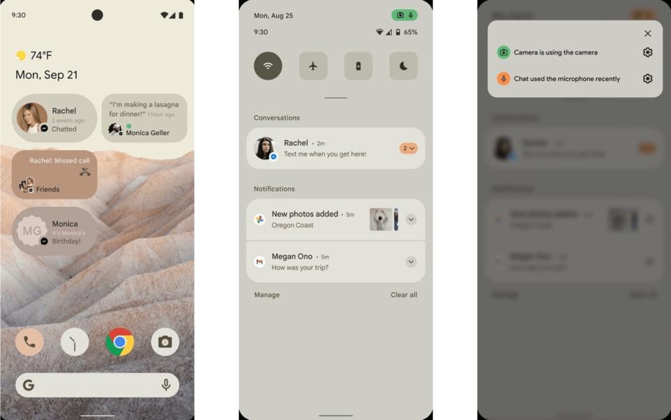 Três prints do suposto Android 12, mostrando os widgets de conversas e os novos indicadores de microfone e câmera.