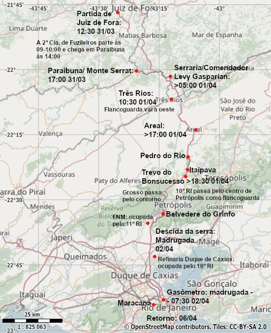 Mapa mostrando a trajetória do Destacamento Tiradentes.
