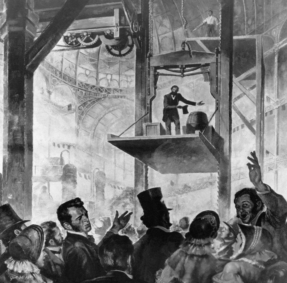 Ilustração de Elisha Otis demonstrando o mecanismo de prevenção de quedas livres dos elevadores.