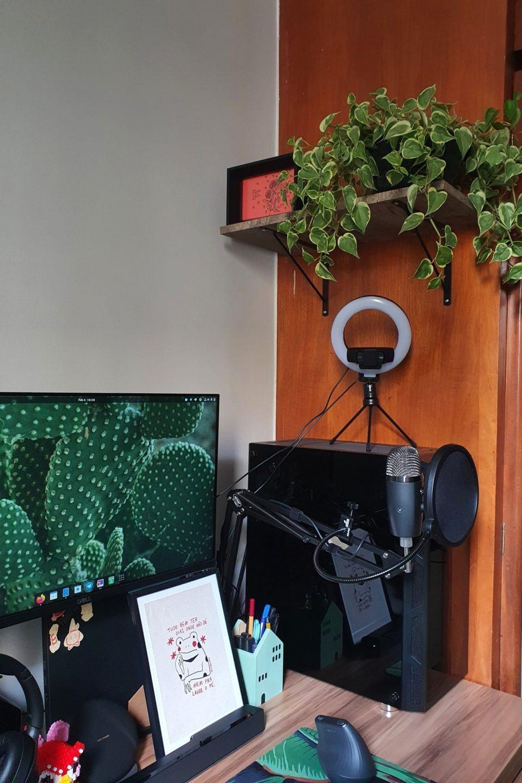 Detalhe do lado direito do escritório da Anna, mostrando um dos monitores, o computador com uma ring light e web cam em cima, microfone e uma planta suspensa acima de tudo.