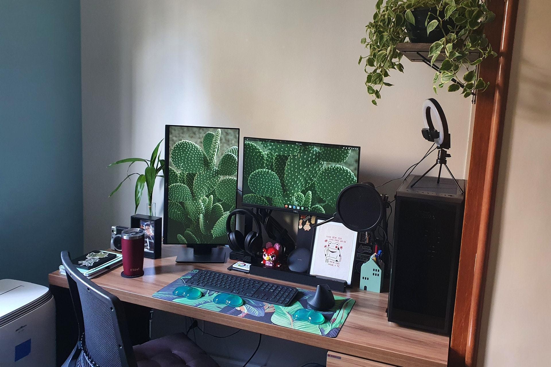 Mesa de escritório de madeira, com dois monitores, um deles na vertical, computador, ring light, mouse e teclado.