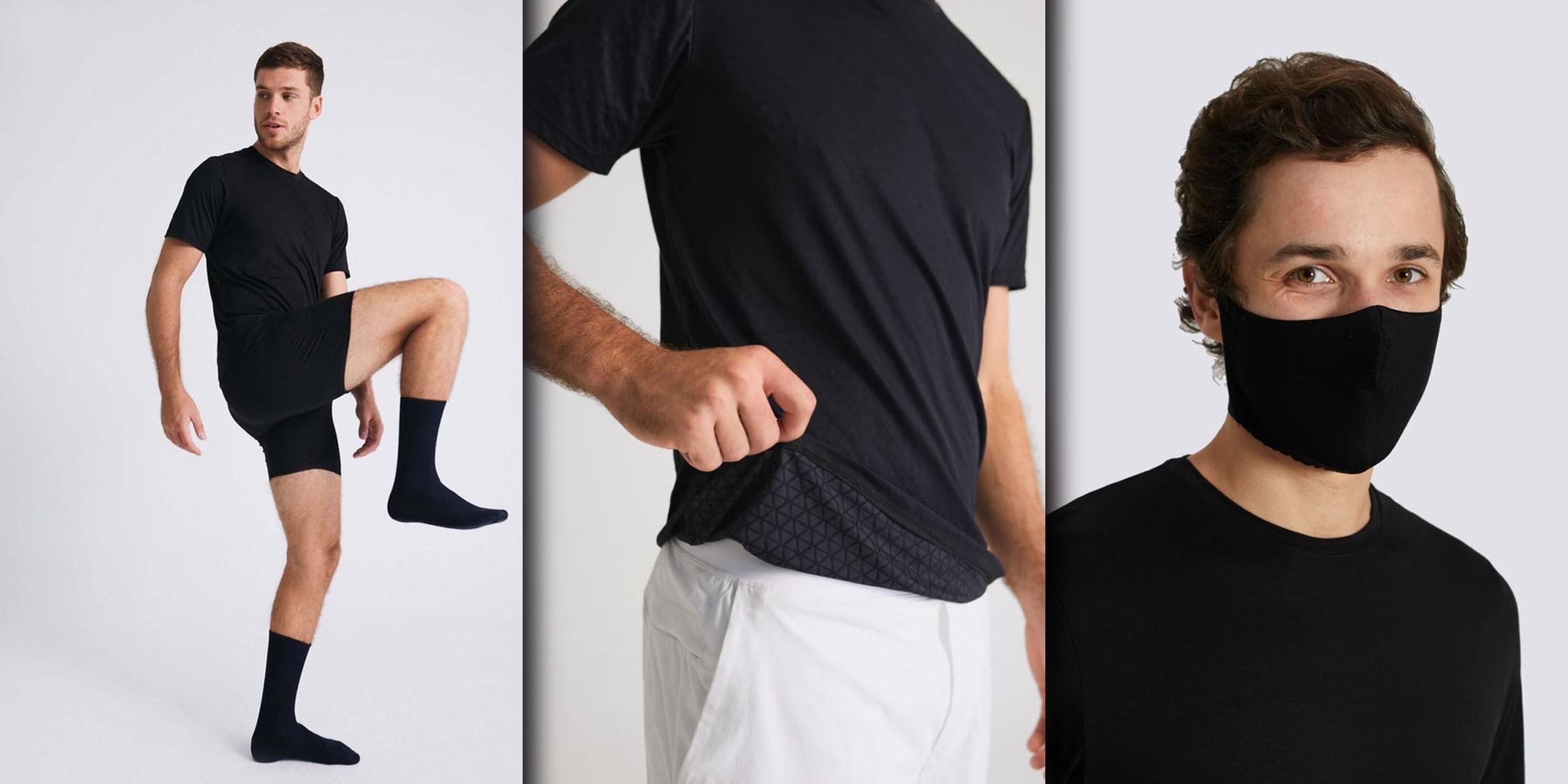 Três fotos de mim homem vestindo roupas pretas básicas da Insider — na última, com uma máscara antiviral preta, olhando para a câmera.