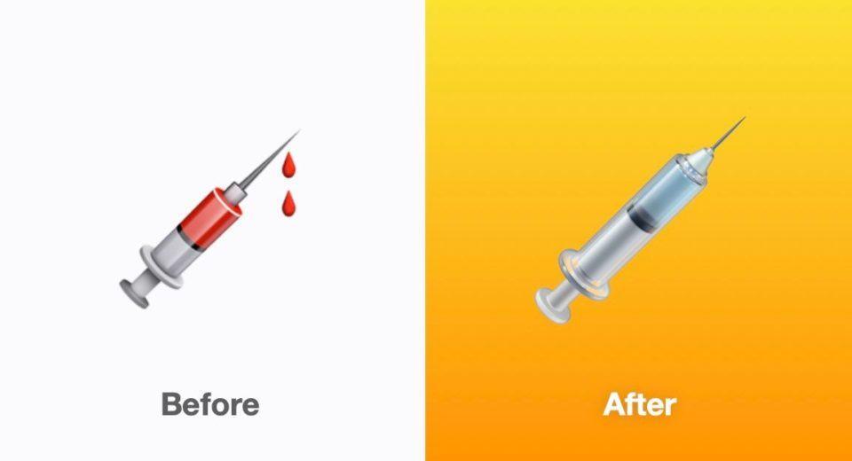 Comparativo antes e depois do emoji da seringa/injeção no iOS 14.5.