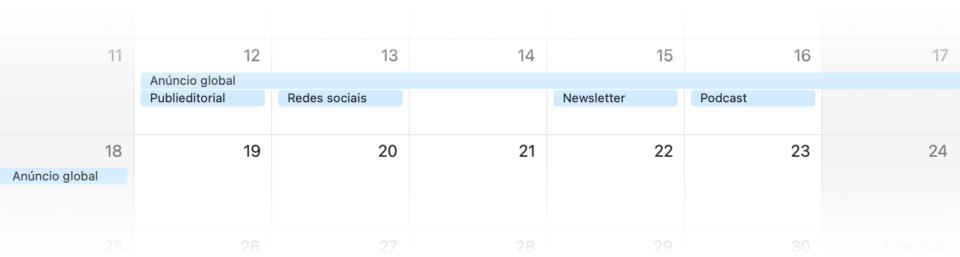 Print de um calendário mostrando uma semana, de domingo a sábado, com marcações de produtos do patrocínio do Manual do Usuário — anúncio global, posts, newsletters etc.