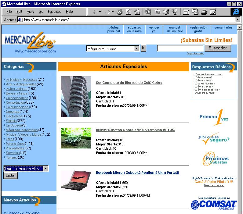 Print, no Internet Explorer, da primeira versão do Mercado Libre argentino.