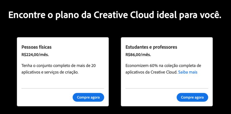Caixas dos planos da Creative Cloud completa, mostrando valores mensais.