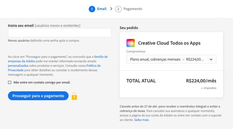 Tela de pagamento da Adobe, com um formulário de endereço de e-mail e o resumo do pedido, destacando o plano anual parcelado.