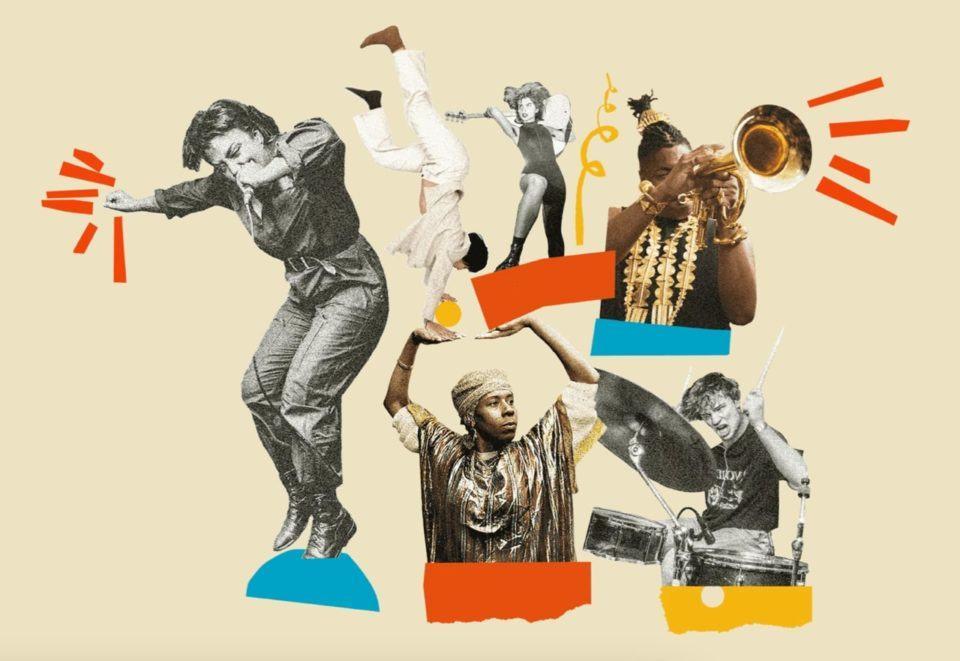 Colagens estilizadas de músicos diversos tocando instrumentos.