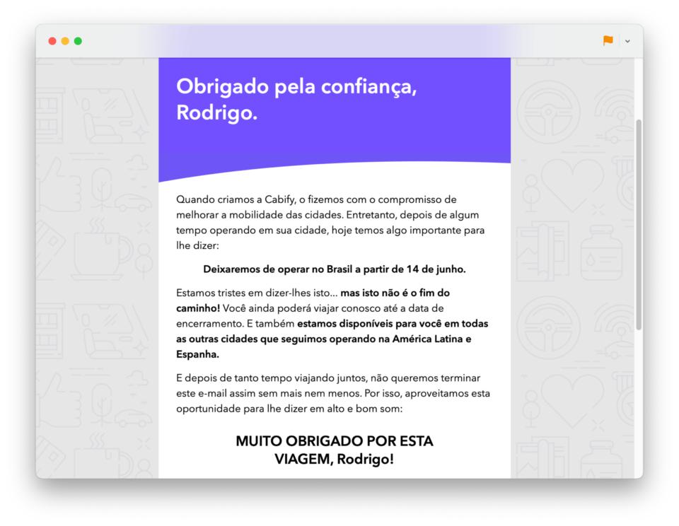 E-mail da Cabify avisando que deixará o Brasil em junho de 2021.