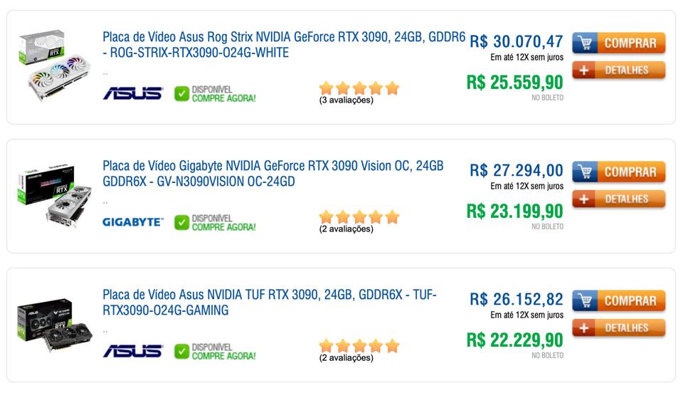 Listagem de placas de vídeos em um site de e-commerce, mostrando três modelos da GeForce 3090 por preços que variam de R$ 22 mil a R$ 30 mil.