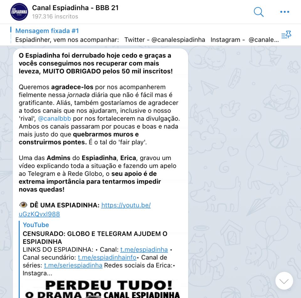 Print da mensagem de retorno do canal Espiadinha BBB.