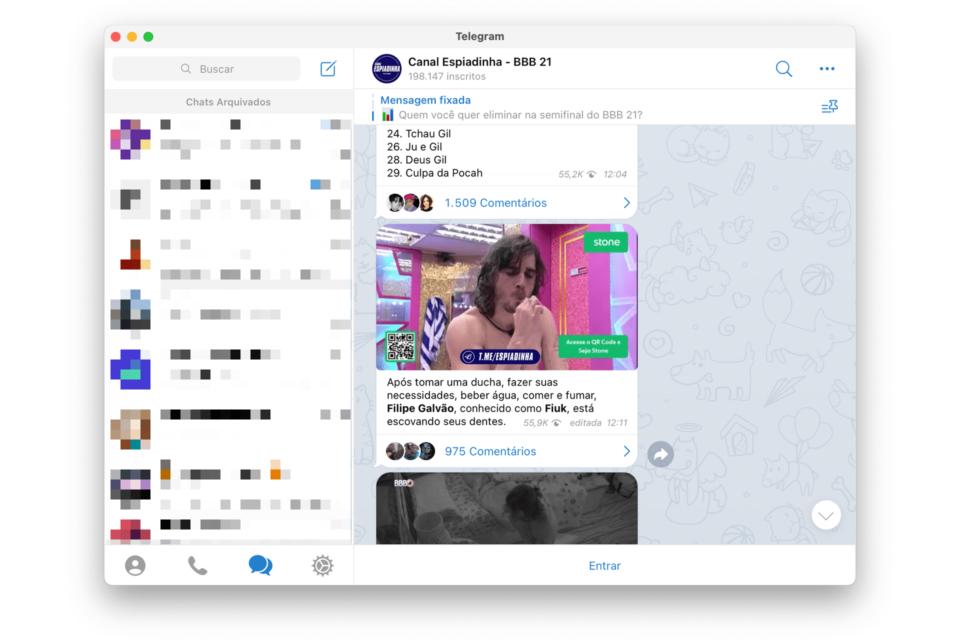 Print do Telegram para macOS mostrando o canal Espiadinha BBB.