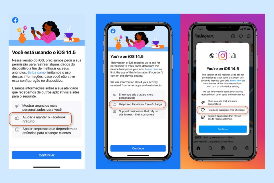 Prints, em inglês e português, da tela que o Facebook exibe ao pedir autorização para rastrear o comportamento dos usuários no iOS 14.5.